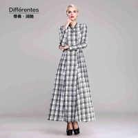 TWODS cotton dresses new fashion 2014 autumn winter dress women plus size s-xxxl o-neck maxi full sleeves black and white plaid