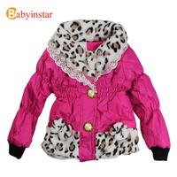 Children Winter Coat Girls Leopard Print:Baby Girl Snowsuit Warm Thickness Fleece Kids Down Jacket Windproof Outerwear Casual