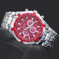 1PC Luxury Red Dial Business GentleMen's Watches Man Boy's Fashion Curren Sports Gifts Analog Quartz Wrist Watches, 8084
