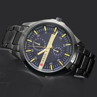 1PC Black Dial Yellow Pointer Sports Curren Man Men's Boy's Fashion Business Analog Quartz Wrist Hand Watches, 8128