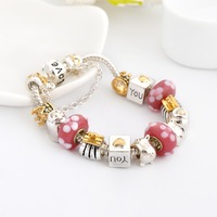 2014 New Brand Fashion 925 Silver Bead Charm Bracelet for Women DIY Love Beads Bracelets & Bangles Jewelry SL1041