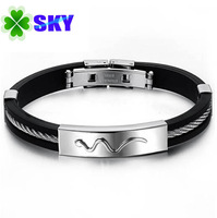 SKY Jewelry! EURO style Men Silicon Viper Bangles With Rich Line 316L Stainless Steel Buckle and Connector Bracelets SK987