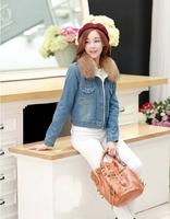Hot! New 2014 Autumn Winter Plus Velvet Thick Short Denim Jacket For women Fur Collar Jeans Jacket Women Cardigan Jackets B1510