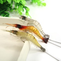 2Pcs/Lot 18cm Artificial Noctilucent Soft Silicone Prawn Shrimp Fishing Tackle Lure Hook Bait#HW01049