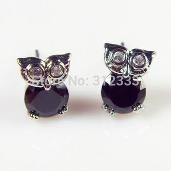 Привлекательный CZ алмазов сова серьги стержня для девочек aaa корень циркон 18 К платины покрытием серебра серьги оптовая продажа рождественский подарок