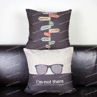 Novelty Cartoon Design A Sign to Happiness & Bob Dylan Sunglasses Cotton Linen Throw Cushion Cover Home Decor Sofa Pillow Case