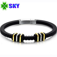 SKY Jewelry! EURO style Men Silicon Slim Bangles 316L Stainless Steel Buckle and Golden Square Bracelets SK818