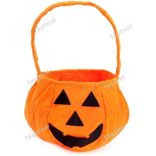 Halloween Pumpkin Decoration!! Wholesale Halloween Bag Practical Halloween Basket Hand Bag Pumpkin Bag Free Shipping(China (Mainland))