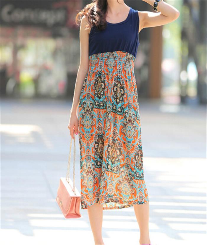Splice Bohemian Beach Wear 2014 New Fashion vintage Summer Women Clothing Elegance Plus Size Orange Print Dresses T19-39(China (Mainland))