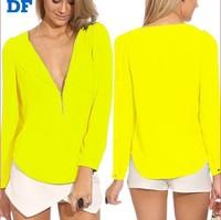 2014 New Women Chiffon Blouse Shirt Neon V-Neck Long Sleeve Zipper Chiffon Blouses Female Formal Brand Tops Plus Size Shirt  791