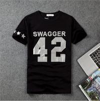 DQ-08 D-dragon Harajuku SWAGGER Number 42  Reflective Shorts sleeve Swag clothes Summer men t shirts Hip hop Sport Casual-shirt