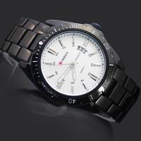 1PC White Dial Black Band Sports GentleMen's Watches Man Boy's Curren Calendar Stainless Steel Analog Quartz Wrist Watches, 8110