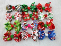 2014 New Christmas Ribbon Hair Bows for Christmas Party Decoration 3 inch Girl Boutique Hair Bows Kids Christmas Gift 28 pcs/lot