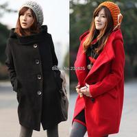 New winter slim big hood woolen coat, Plus sizes M/L/XL/XXL 2 colors