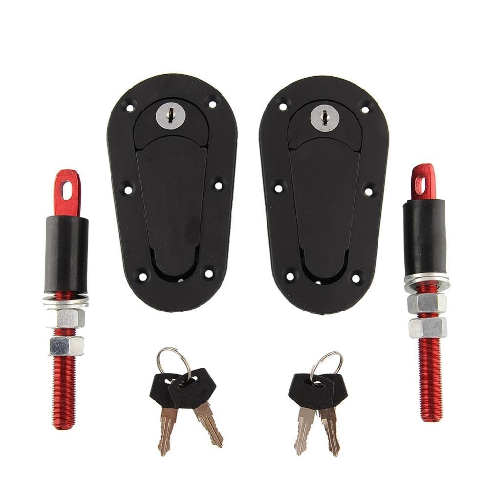 New hot Racing Mount Lock Bonnet Plus Flush Hood Latch Pin Kit W/Key Locking Kit Black freeshipping(China (Mainland))