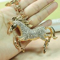 Retail and Wholesale New Rhinestone Shine Horse KeyChain Crystal Charm Pendant Purse Bag Key chain K1 Free Shipping Worldwide