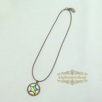Free shipping Color pentagram necklace time gem necklace gift necklace