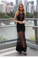 Sleeveless One Size Black Sheer Mesh Spliced Maxi Dress 2014 New Autumn-winter Women Fashion Clothes Ladies Long Gown Vestidos