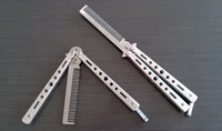 Butterfly Sport Practice Balisong Tool Trainer Cool Sports Black Silver Color Comb Shape
