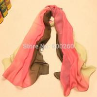 2014 New arrival High Quality Fashion Chiffon Scarf Gradual colors georgette female silk scarves shawl