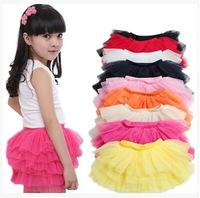 New 2014 fashion girls tutu skirts baby ballerina skirt childrens chiffon fluffy pettiskirts kids Hallowmas silk casual skirt
