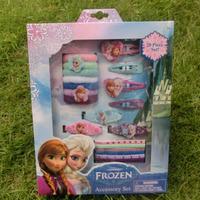 Frozen ornaments Children hair accessories Hair jewelry Frozen Elsa & Anna hairpin + Elastic Hair Bands 20pcs/pack