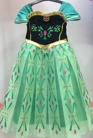 2014 hot girls dress party dress green Frozen ice Romance new summer ELSA ANNA princess dress child dress 100 pcs