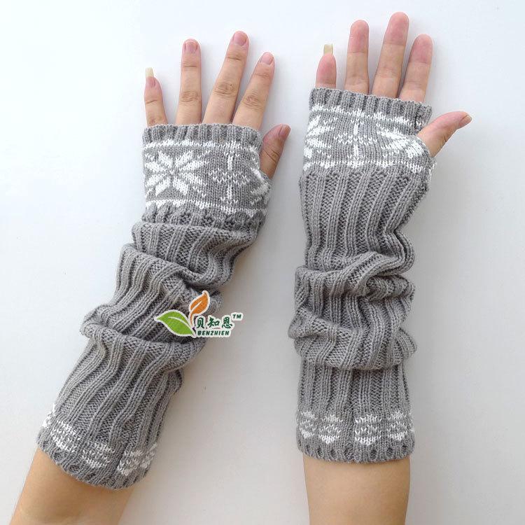 winter women arm warmer long mitten for girls fingerless gloves free shipping(China (Mainland))