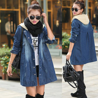 Spring Fall Casual Ladies Womens Plus Size Loose Hooded Long Denim Dust Coat  Female Woman Ripped Jean Trench Coats With A Hood