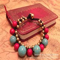 Folk style new Nepal Turquoise Beaded retro compilation wax line micro inlaid jewelry wholesale new