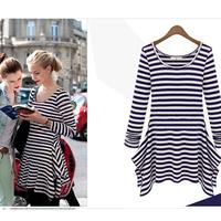 2014 Autumn New fashion stripe t shirt dresses fancy Women clothes cute  irregular dress charming slim fit mini casual dress