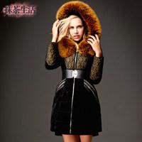 2014 Winter Thicken Warm Women Down jacket Hooded Luxury Raccoon Fur collar Luxury Coats Parka Plus Long Size 3XXXL Stitching
