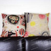 Cute Cartoon Abstract Animal Lion & Sunshine Cotton Linen Throw Cushion Cover Kid's Room Home Decor Pillow Case 45x45 cm