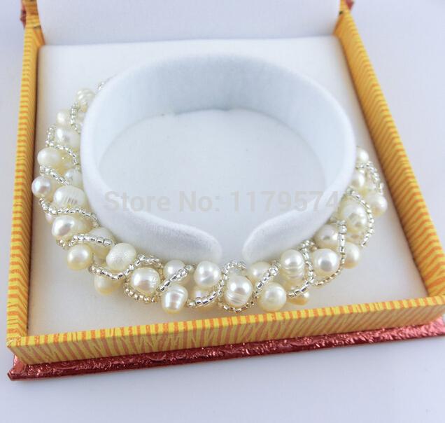 New white freshwater shell pearl Bracelet Snake Chain Bracelet natural stone 5-6mm beads jewelry Wolesale Price hy0012(China (Mainland))