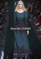 Top quality new 2014 autumn winter women vintage fashion runway long dress long-sleeve floor length gradient striped dresses