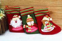 "2014 Christmas socks 3pcs/lot Santa Claus Snowman Reindeer Bear,christmas gift,9"" Indoor Christmas Decoration Supplies,SHB091"