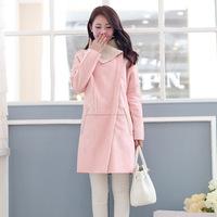 Women Pink Coat  Suede Fabric Lambs Overcoat Long Type Lamb Fur Coat Warming Women Jacket Winter Outerwear 2014 New Fashion A213