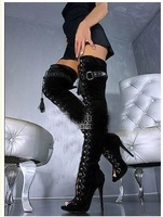 2014 Autumn Women Sexy Open Toe Lace Up Leather Thigh High Boot Shoe Over Knee High Heel Cut Out Gladiator Boots For Women