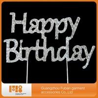 Diamante Rhinestone Happy Birthday Cake Topper Silver / Clear Crystals, Birthday Party Cake Picks, Cake Toppers Monogram