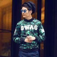 Men runway style brand 3d printed neoprene structured round collar sweatshirt element pullover brand sweatshirts tops N10032