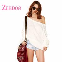 XS-XXL 2014 Brand Sweater White Slash Neck Dew Shoulder Deep V Back Puff Sleeve Women Pullover Sweaters Desigual Cardigans