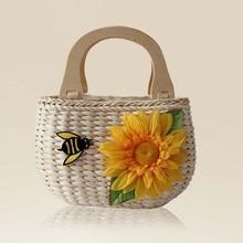 Mulheres bolsas femininas 2014 nenhum macio fantasia New artesanais chegada grandes flor abelha saco de palha Natural Hot Sale grátis frete(China (Mainland))