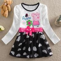New Baby Girls Sweet Princess Cartoon Dress Infantil Cotton Peppa Pig Long Sleeves Bowknot Vestidos Age1-6 years