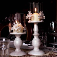 New & Hot Sale European white brushed golden flower carved candle holder home wedding iron candlestick ornament free shipping
