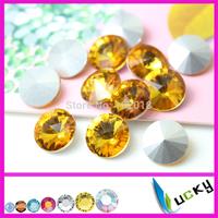Topaz color rivolis 8mm 10mm 12mm 14mm 16mm 18mm sharp back crystal strass,jewelry rhinestones