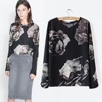 L377B woman black rose chiffon blouse 2014 autumn long sleeve women's floral tops fashion shirt for women