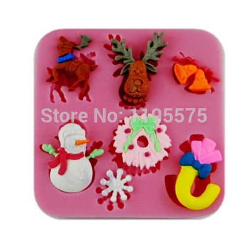 New Christmas 3D silicone mold Fondant Cake Decoration Sugar Craft,soap,xmas candle Chocolate Molds(China (Mainland))