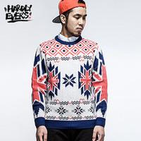 hardlyevers retro trend men's long-sleeved round neck knit sweater coat sweater geometric patterns