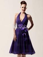 Hotting Sale 2015 New Arrival Women Elegant A-Line Halter V-Neck Knee-Length Short Prom Dress Party Gown Formal Evening Dresses