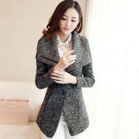 New Women Coat  Spliced Button Fashion Slim Wool  Winter Coat Color Gray Casacos Femininos S M L XL XXL Free Shipping